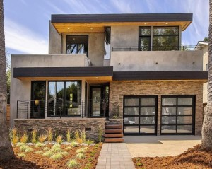 Modern Burlingame Residence Exterior Design Glass Garage Door